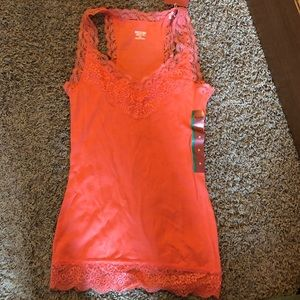 orange lace tank top